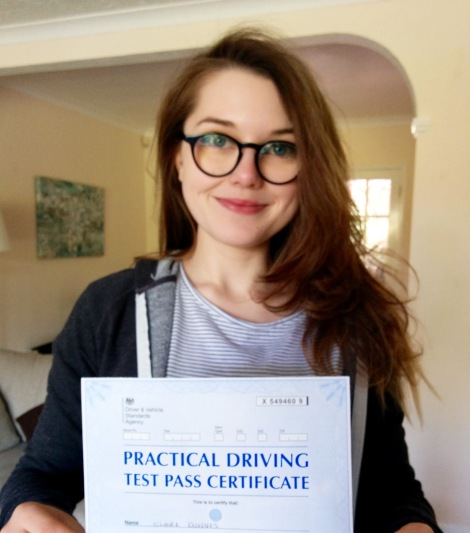 Claire with her Driving Certificate.